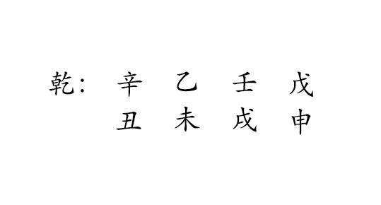 乾 : 辛 乙 壬 戊  丑 未 戌 申