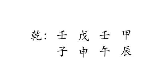乾 : 壬 戊 壬 甲  子 申 午 辰