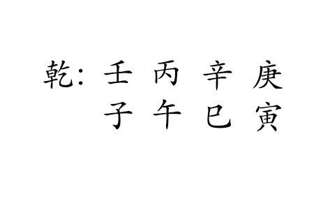 乾 : 壬 丙 辛 庚  子 午 巳 寅